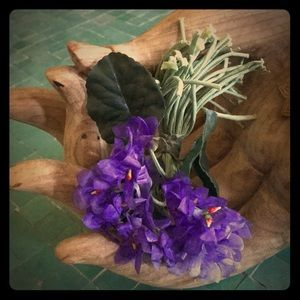 Vintage silk millinery violets, bunch